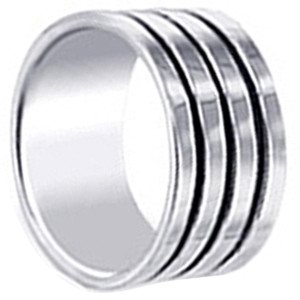 925 Sterling Silver Polished Finish Stripes 10mm Band