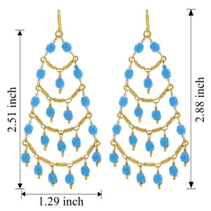Gold Plated Czech Seed Beads Chandelier Earrings