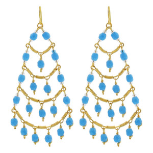 Aqua Beads Chandelier Earrings