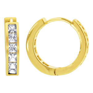 18k Gold Layered Princess Cut Cubic Zirconia Hoop Earrings