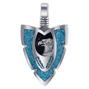 925 Sterling Silver Arrowhead Turquoise Gemstone Chip Inlay Southwestern Style Eagle Pendant
