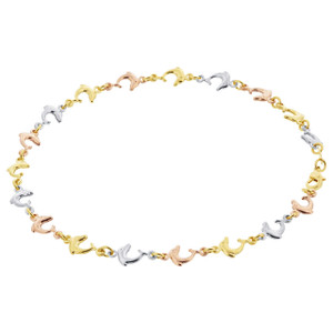 18k Three Tone Gold Layered 5mm Dolphin Chain Ankle Bracelet