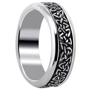 Mens 925 Sterling Silver Engraved Celtic Endless knot and Triquetra Design 7mm Spinning Band