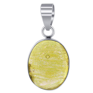 Sterling Silver Yellow Druzy Glass Pendant