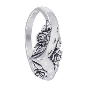 Sterling Silver Surrounded by Roses Faceted Cut Accent Thumb Ring