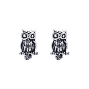 925 Silver Hand Crafted Perching Owl Stud Earrings