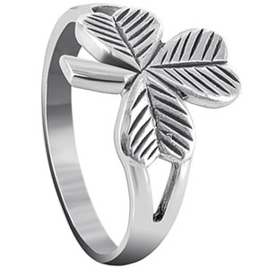 925 Sterling Silver Three Leaf Clover Ring