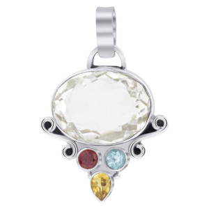925 Silver Clear Topaz with Blue topaz Citrine & Garnet Pendant
