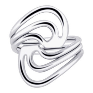 925 Sterling Silver Triple Wire Enclosed Waves Ring