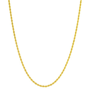 Stainless Steel Gold Plated 2mm Rope Chain Necklace