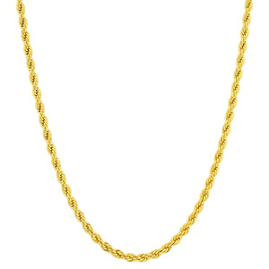 Men's Stainless Steel Gold Plated 4mm Rope Chain Necklace