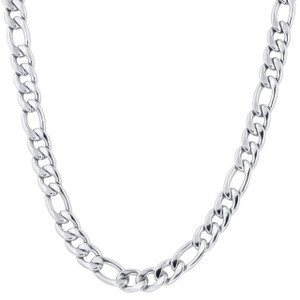 Men's Stainless Steel 11.5mm Figaro Chain Necklace