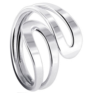 925 Sterling Silver Polished Finish Hollow Snake Ring