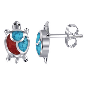 Turquoise Coral Turtle Stud Earrings