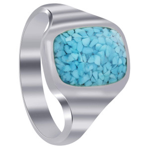 Men's 925 Silver Simulated Blue Turquoise Rectangle Chip Inlay Band Ring