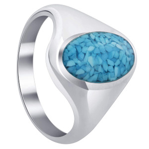 925 Silver Blue Turquoise Oval Chip Inlay Men Band Ring