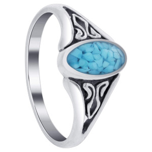 925 Silver Blue Turquoise Oval Chip Inlay Band Filigree Ring