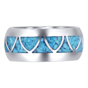925 Sterling Silver Wide Band Turquoise Arch Inlay Men's Ring