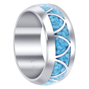 925 Silver Wide Band Blue Turquoise Arch Inlay Men's Ring