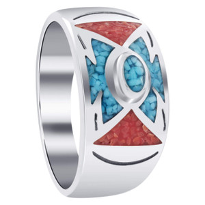 Men's Sterling Silver Turquoise & Coral Chip Inlay Ring