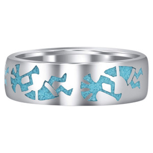 Men's 925 Sterling Silver Turquoise Southwestern Kokopelli Ring