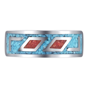 925 Silver Blue Turquoise and Coral Square Inlay Men's Band Size 8
