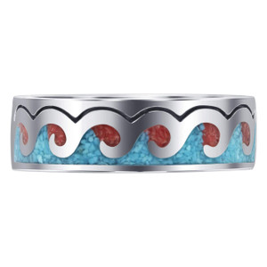 925 Silver Turquoise and Coral Inlay Wave Design Men's Ring