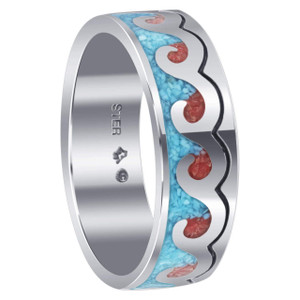 Turquoise and Coral Gemstone Ring