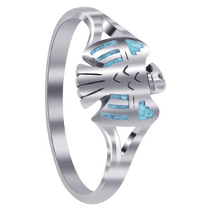 925 Sterling Silver Southwestern Eagle Turquoise Inlay Ring