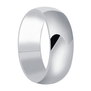 Mens 925 Sterling Silver Polished Finish 8mm Wedding Band