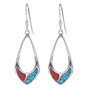 925 Silver Turquoise & Coral Teardrop Drop Earrings