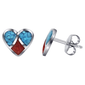 925 Silver Turquoise and Coral Inlay Heart Stud Earrings