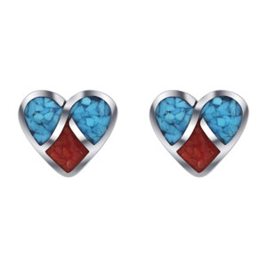 Turquoise and Coral Heart Stud Earrings