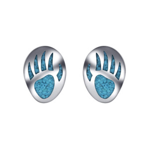 925 Silver Turquoise Inlay Bear Paw Design Stud Earrings