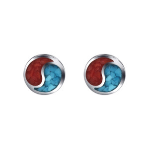 925 Silver Turquoise & Coral Inlay Yin-Yang 5mm Stud Earrings