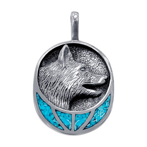 Turquoise Gemstone Wolf Head Design Pendant