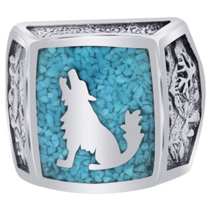 Men's 925 Silver Turquoise Southwestern Style Wolf Ring