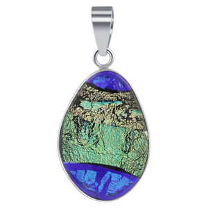 925 Silver Blue & Green Color Changing Druzy Glass Pendant