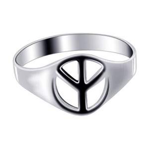 925 Silver Polished Finish 8mm Peace Sign Ring