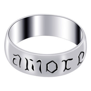925 Silver Polished Finish Amore Engraved 7mm Band