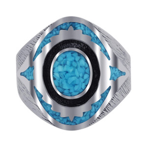 Men's 925 Sterling Silver Turquoise Inlay Mosaic Design Ring