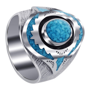 Men's 925 Silver Turquoise Ring Size 11.5 with Mosaic Design