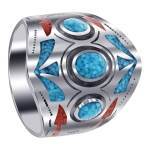 Mens 925 Silver Turquoise Coral Chip Southwestern Style Ring