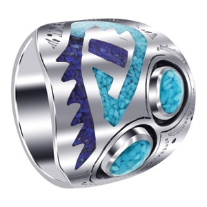 Men's 925 Sterling Silver Turquoise Inlay Ring Size 11.5
