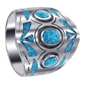Men's 925 Silver Turquoise Chip Inlay Mosaic Design Ring