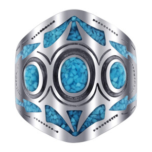 Men's 925 Silver Turquoise Inlay Mosaic Design Ring Size 12