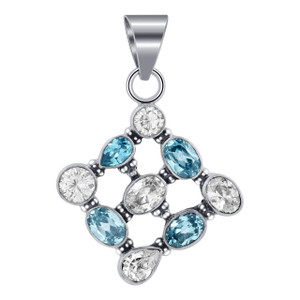 925 Silver Genuine Topaz Bali Design Assorted Cut Pendant