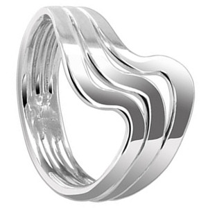 925 Sterling Silver Polished Finish 16mm Wavy Band