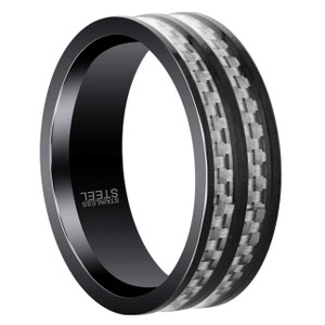 Men's Stainless Steel Black Two Tone 8mm Band with Woven Metal Design