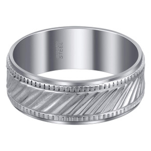 Men's Stainless Steel Ribbed Design 8 mm Band with Comfort Fit